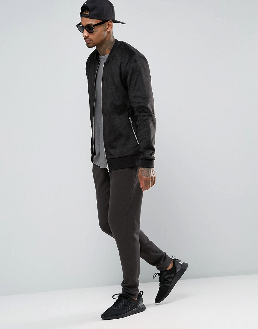 Asos bomber jackets Jersey  in fleece online shoppen heren bomber jas MAN MAN