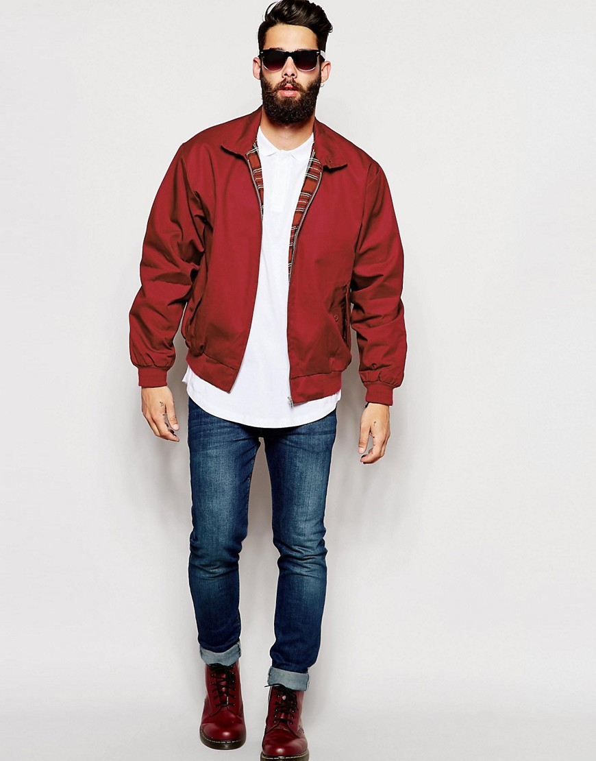 Harrington Jacket jas herfst heren rood MAN MAN