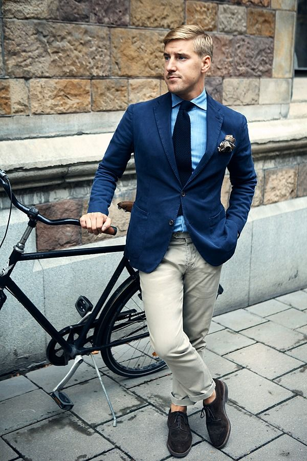 khaki broek navy blazer heren mode MAN MAN