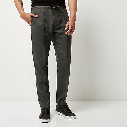 Grijze slim-fit tailored joggingbroek 330d3ce64508