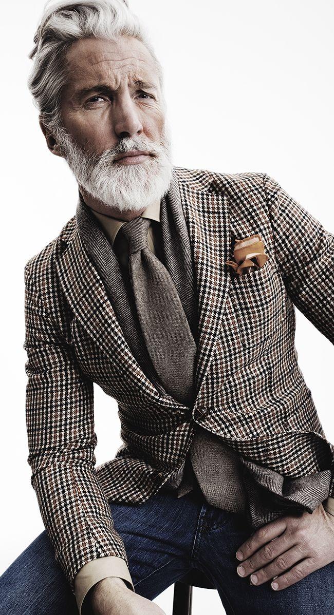 Aiden Shar-heren-geruiten blazer-denim jeans-MAN MAN-grijs haar