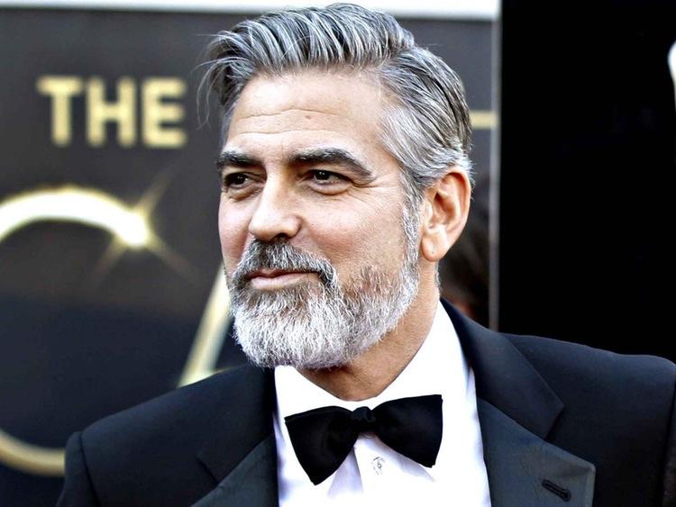 scissor fade-grijs haar-grijze baard-George Clooney-MAN MAN