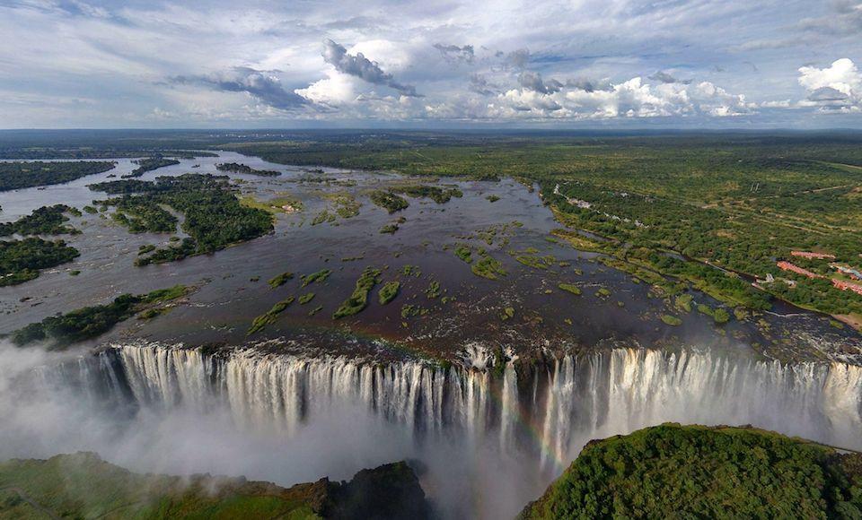 victoria watervallen zambia zimbabwe vanuit lucht