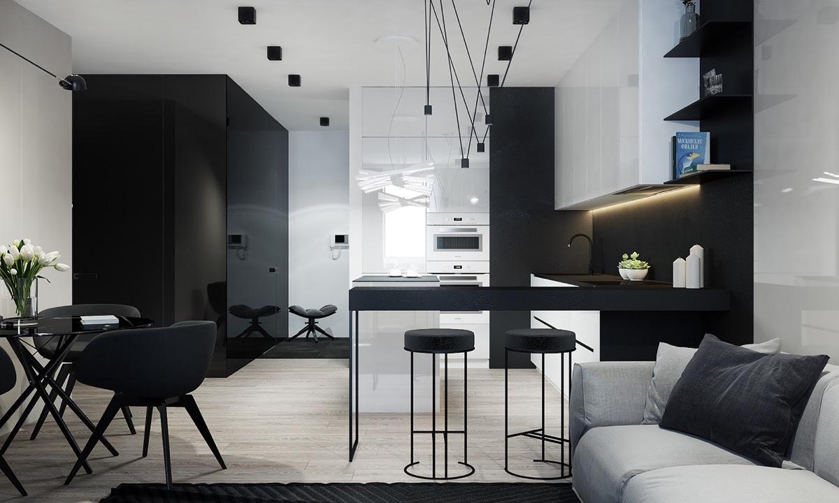 Een zwarte keuken stoer mannelijk en bijzonder stijlvol man man - Apartment interior design ideas with black woven light fixtures ...