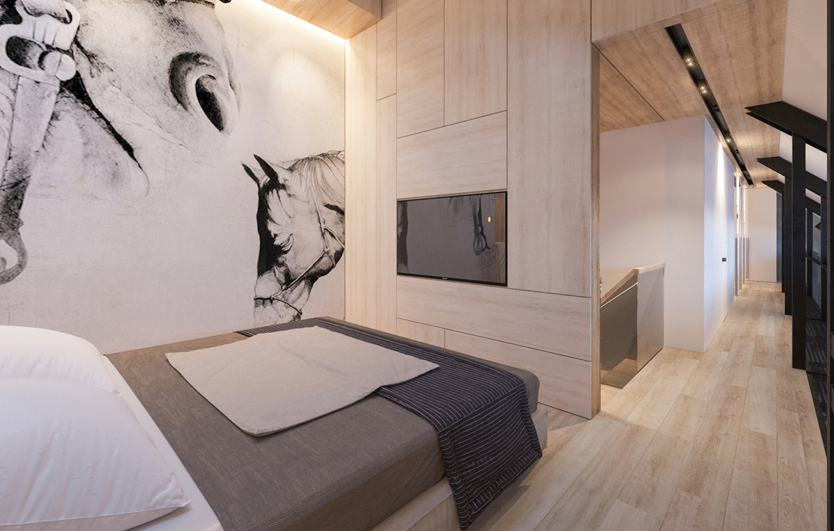monochrome-feature-wall-printed-wooden-bedroom