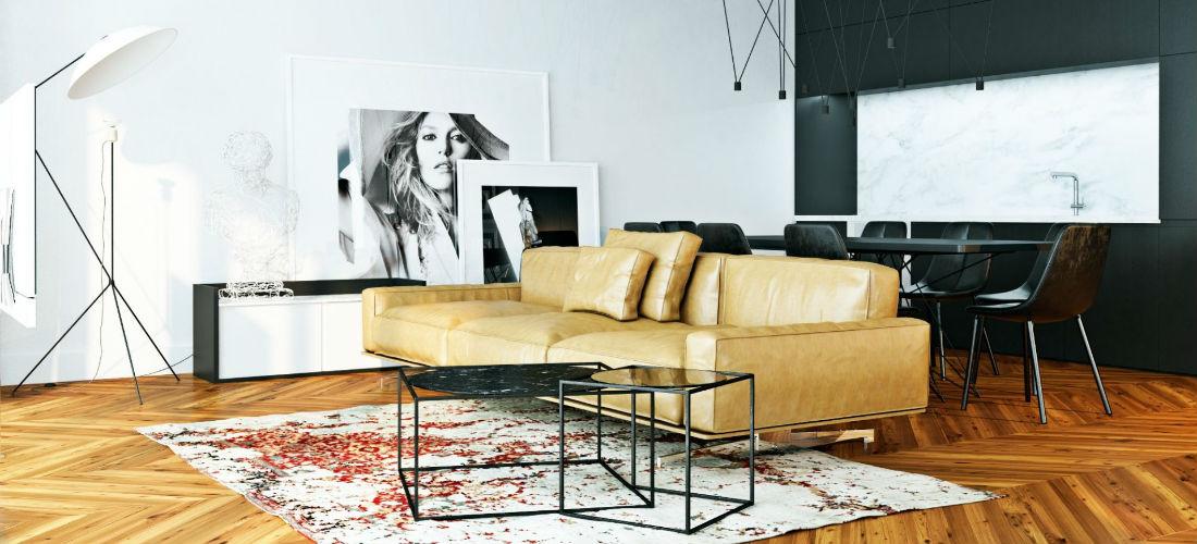 Inspiratie grote schilderijen en kunst zijn de ultieme upgrades voor je woonkamer man man - Een rechthoekige woonkamer geven ...