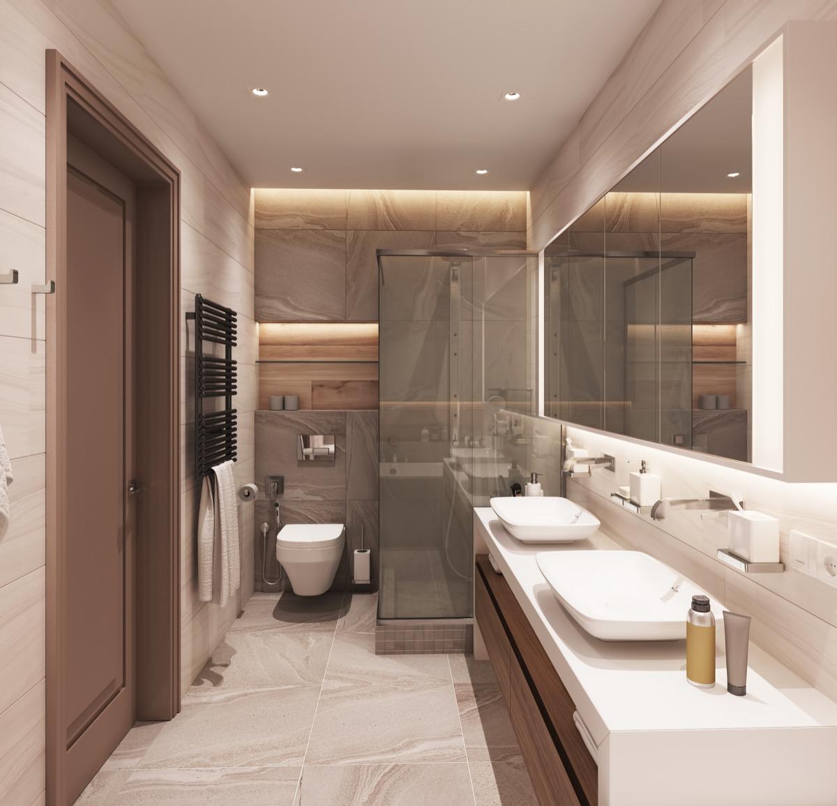Badkamer inspiratie cre er een ruimte vol rust en ontspanning man man - Badkamer beige en bruin ...