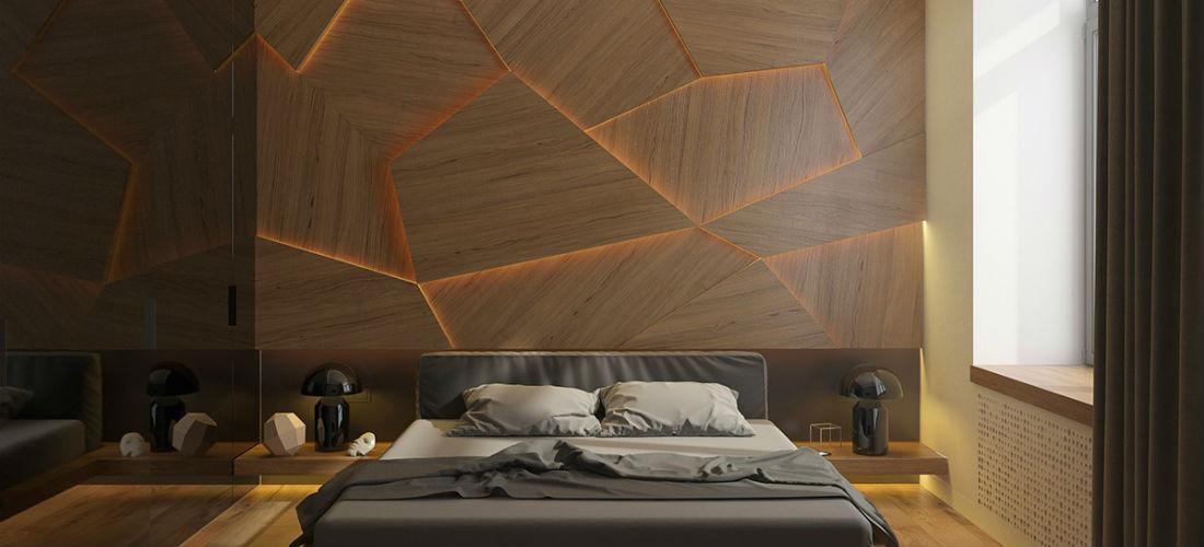 Houten wand achter het bed is de upgrade voor je slaapkamer man man - Slaapkamer houten ...