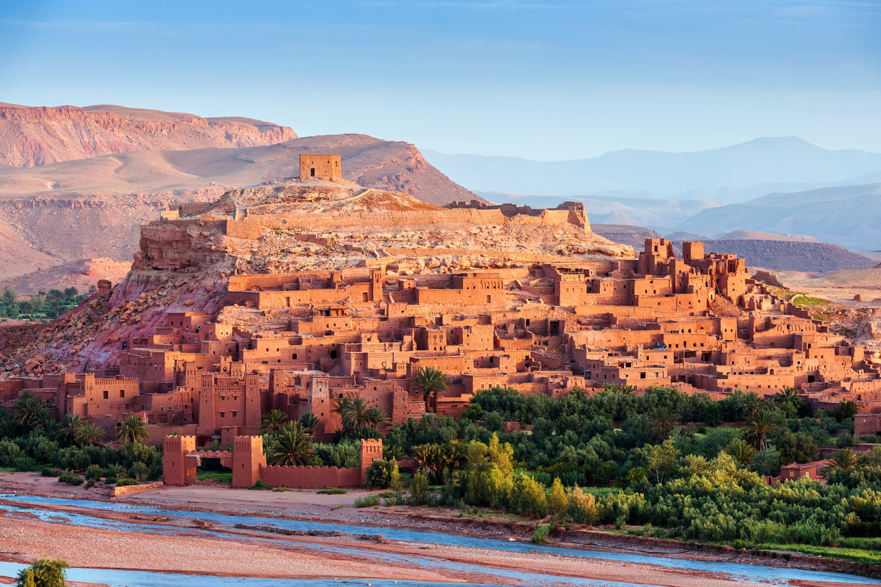 Ouarzazate on the edge of the Sahara desert in Morocco. Taken as dawn broke. Famous for it use as a set in many films such as Lawrence of Arabia, Gladiator, Jewel of the Nile, Kingdom of Heaven, Kundun and Alexander North Africa. Nikon D3x.