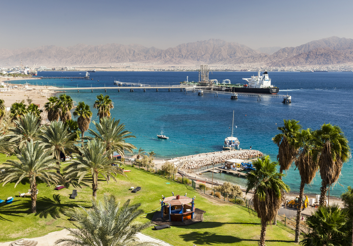 Eilat. Israel - October 30, 2014: View from Eilat south district towards Aqaba in Jordan