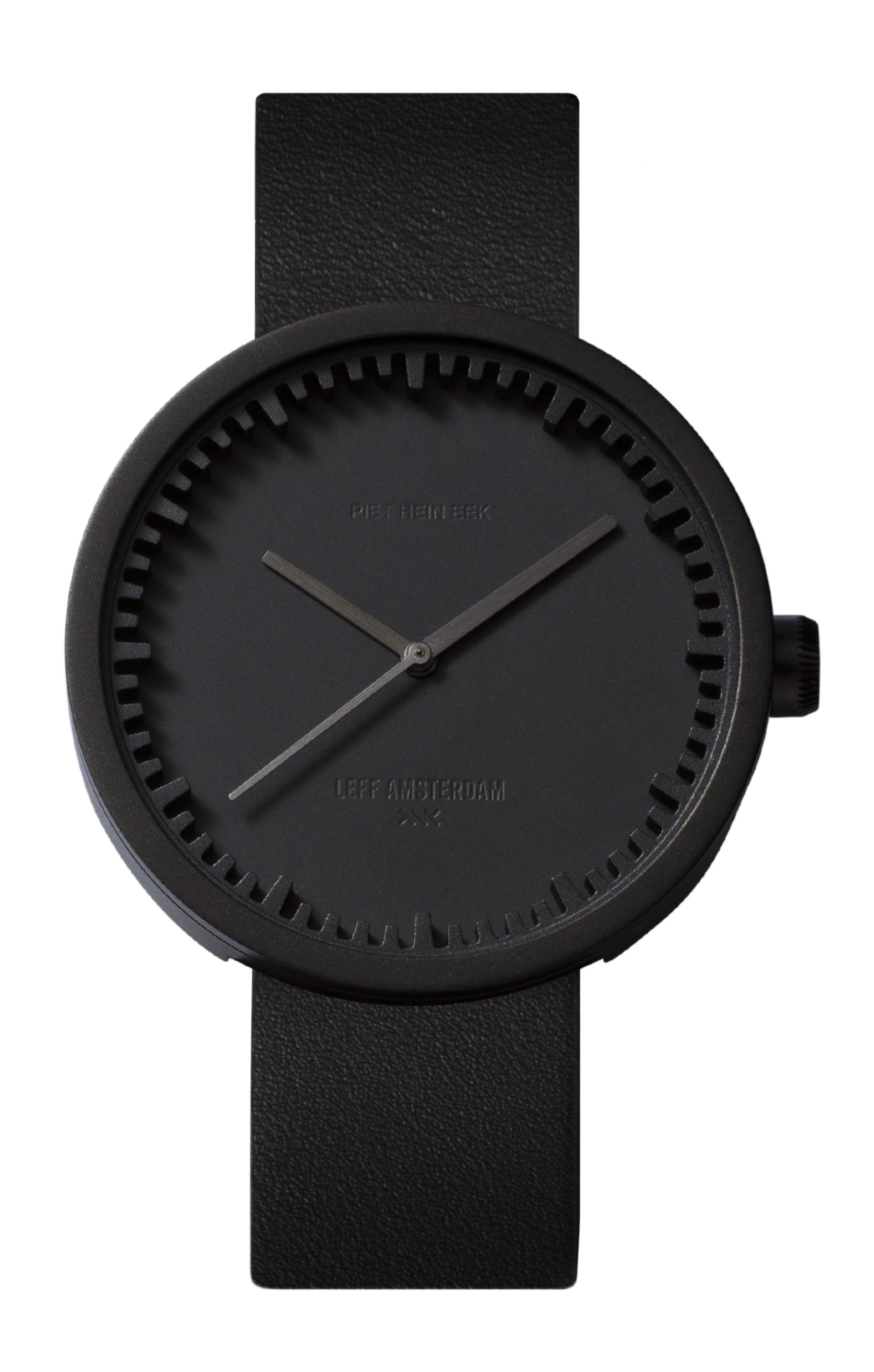 1) D42 black case black leather strap tube watch leff amsterdam design by piet hein eek_front