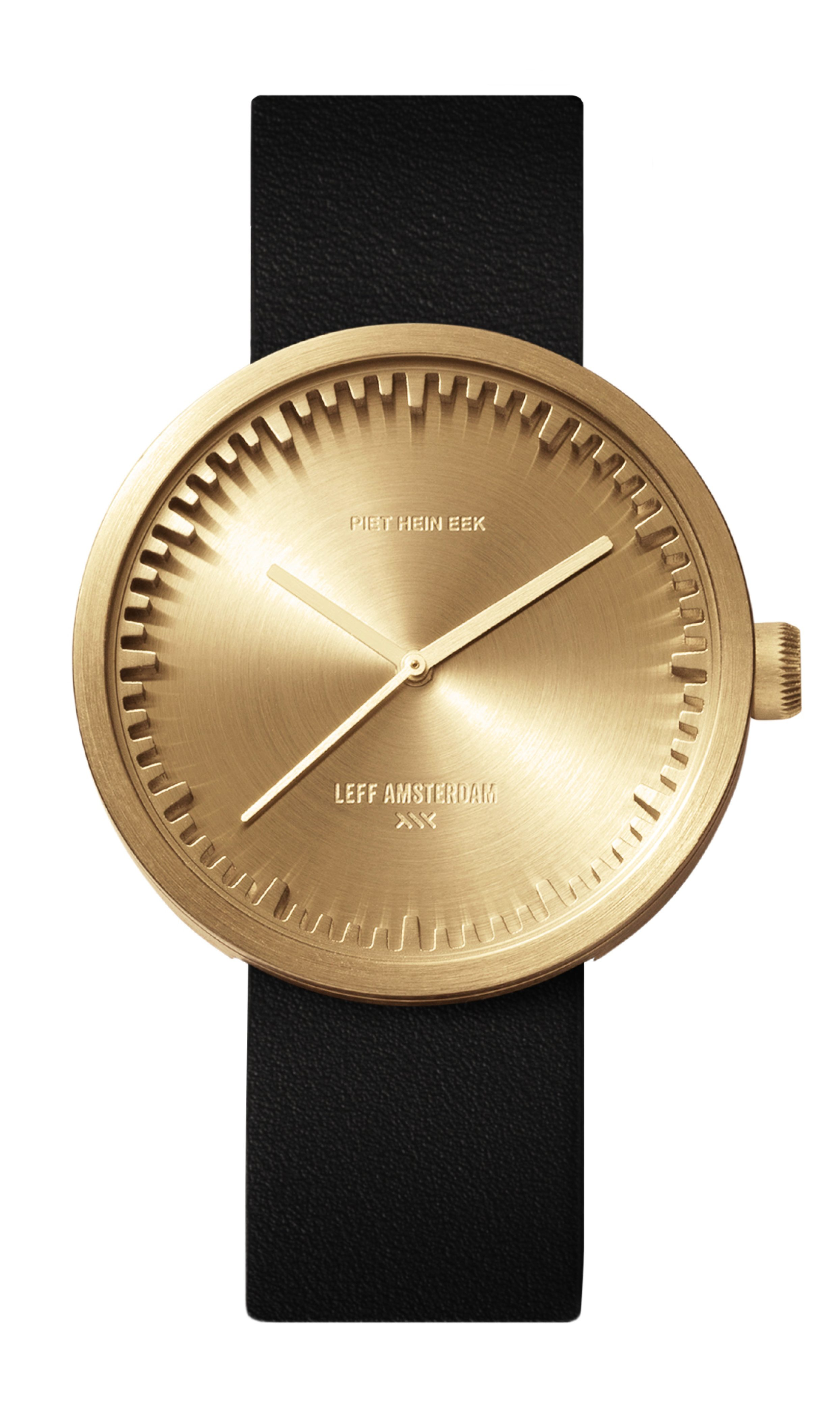 1) D42 brass case black leather strap tube watch leff amsterdam design by piet hein eek_front