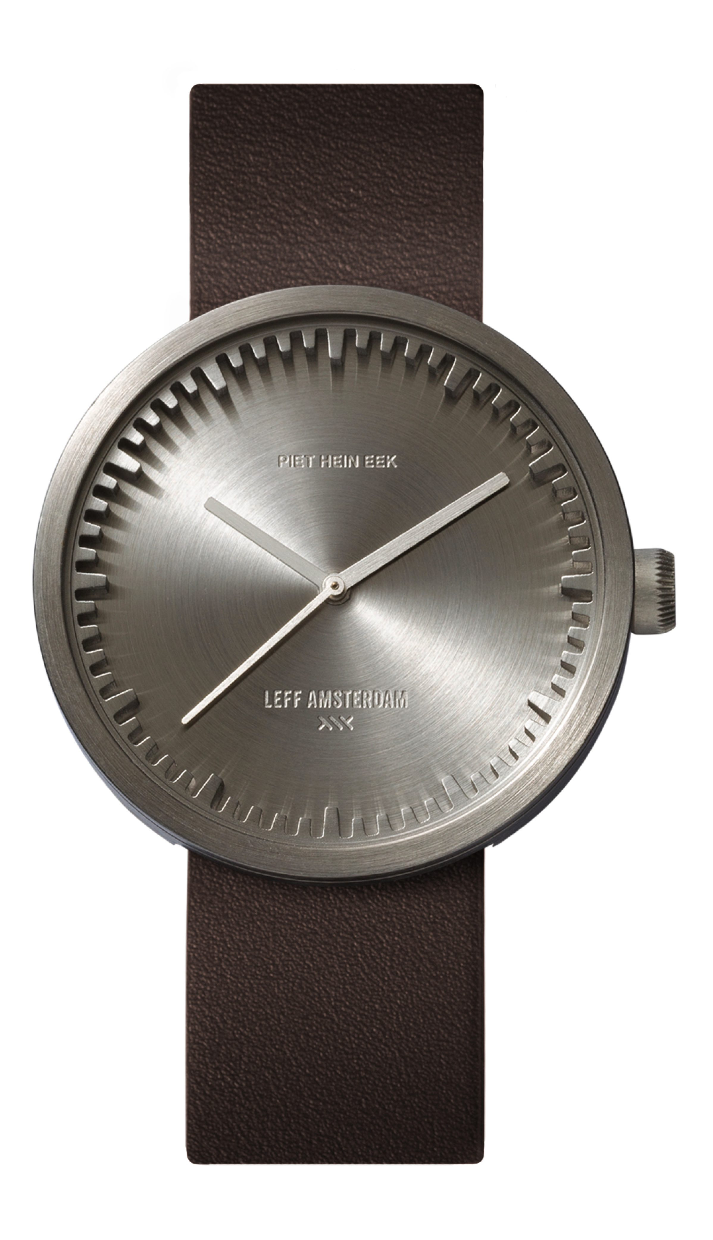 D42 steel case brown leather strap tube watch leff amsterdam design by piet hein eek_front