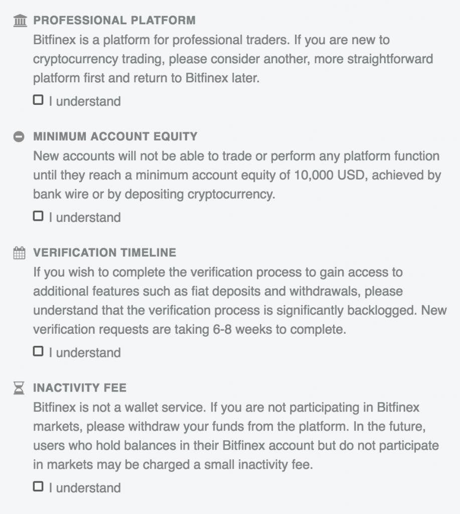 bitfinex regelgeving omtrent nieuwe accounts MAN MAN