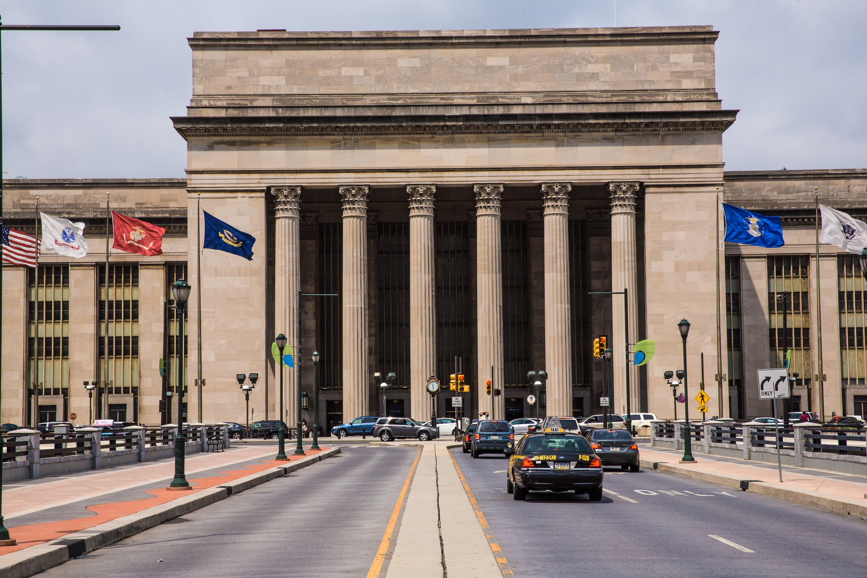 Exterior and Interior of Amtrak's 30th Street Station, known as PHL.
