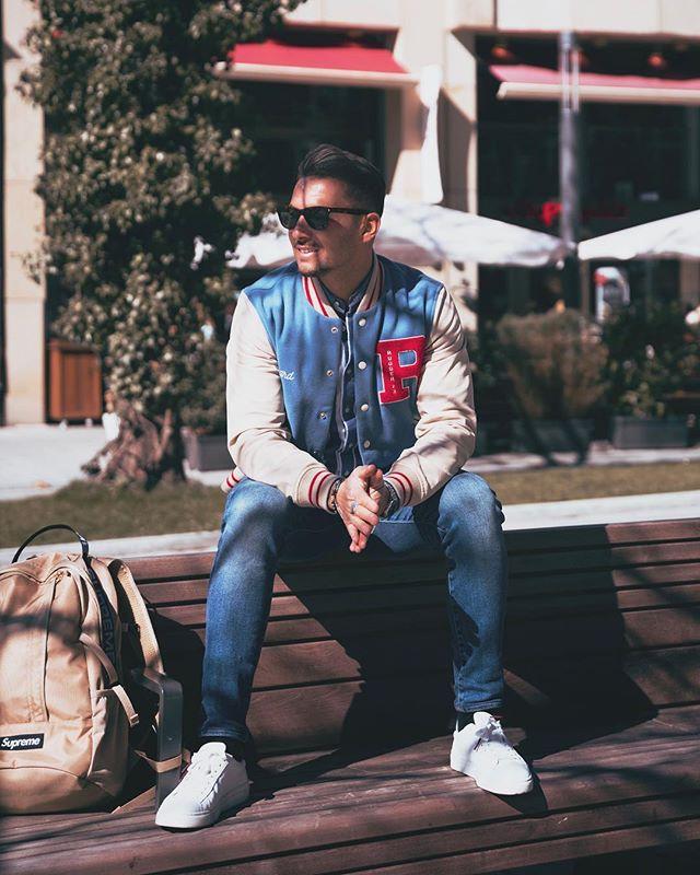 Varsity jacket look