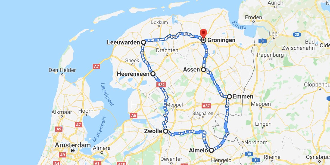 E-bike route door Nederland