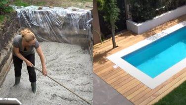 Amsterdamse vrouw bouwt zelf een zwembad in haar eigen achtertuin