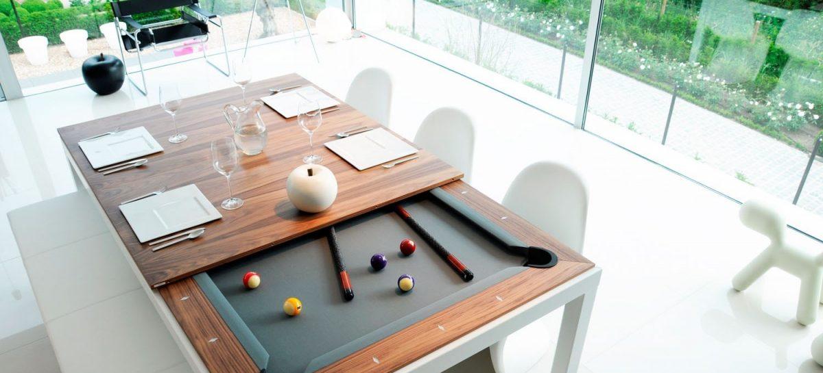 Deze pooltafel tover je in een handomdraai om in een stijlvolle eettafel