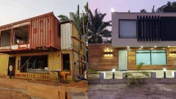 Before en after: oude containers omgebouwd tot Ibiza-achtige villa