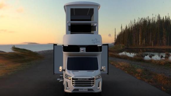 Met deze dubbeldekker camper (incl. lift én terras) ben jij de baas van elke camping