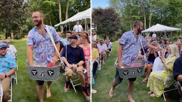 Hilarisch: koppel vervangt bloemenmeisje op hun huwelijk door bierjongen