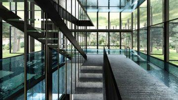 Droomwoning: minimalistische villa met zwembad op de eerste verdieping