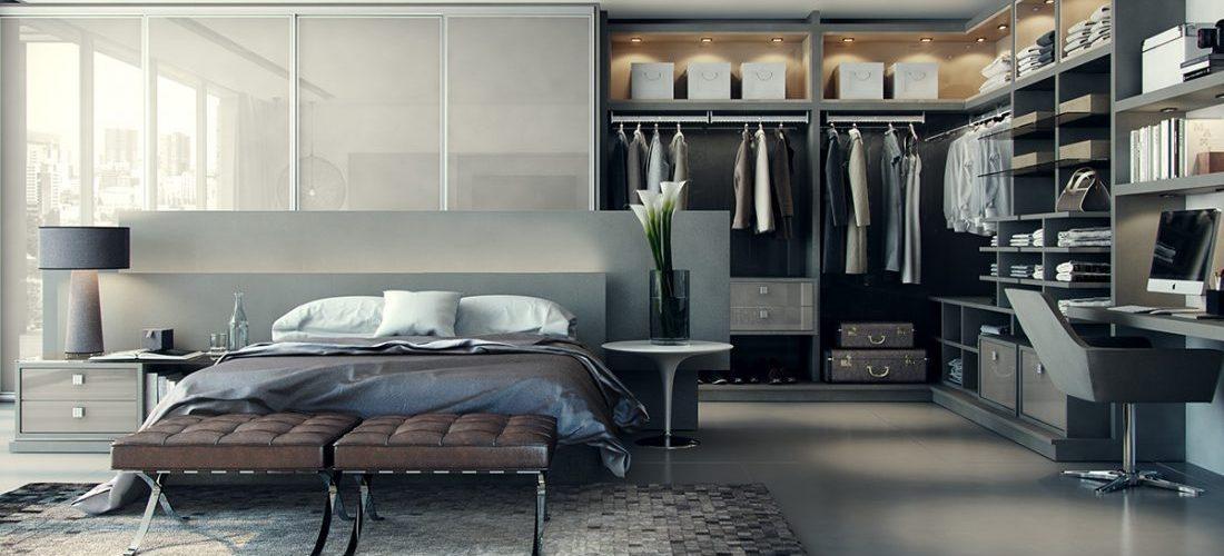 Inspiratie slaapkamers met stijlvolle garderobes man man - Volwassen slaapkamer arrangement ...