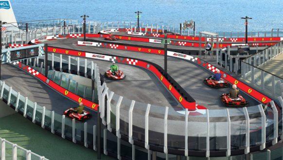 Bucketlist materiaal: Ferrari karten op een cruiseschip